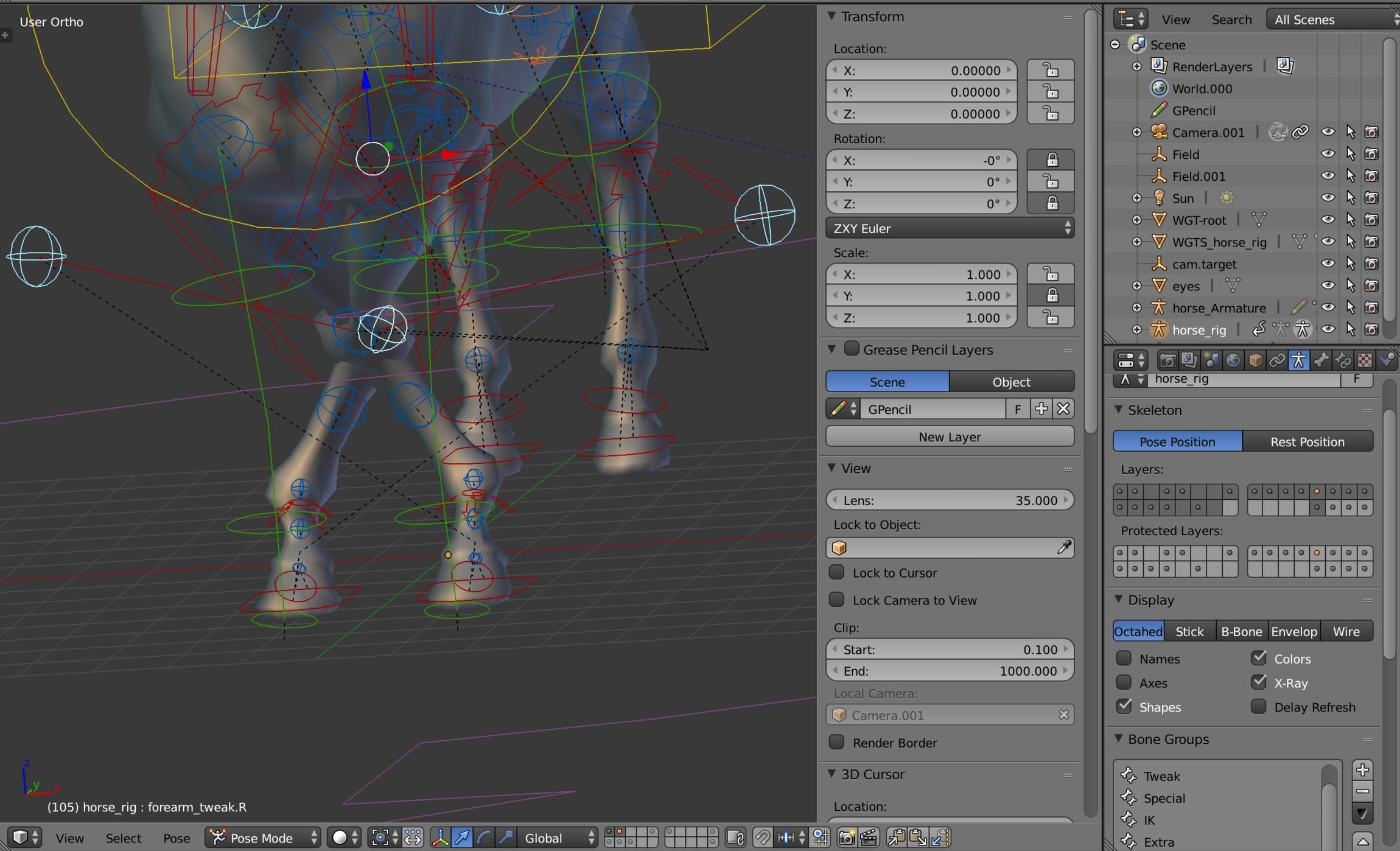 2 79 Rigify  Horse leg x-crossed bug  - Animation and