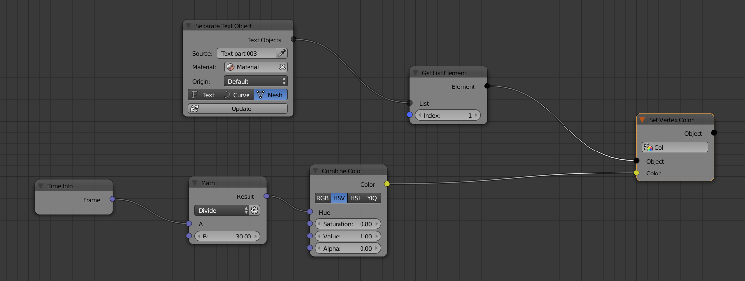 Random colour using Animation nodes on Text object - Lighting and