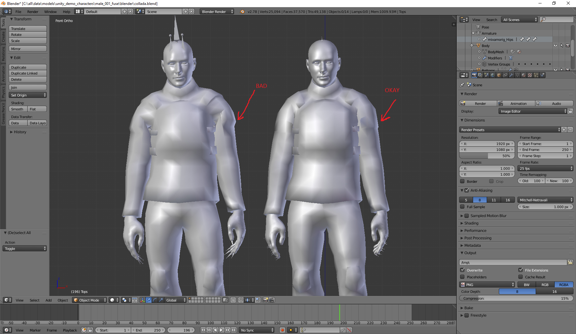 Import from Mixamo to Blender in  FBX format - mesh