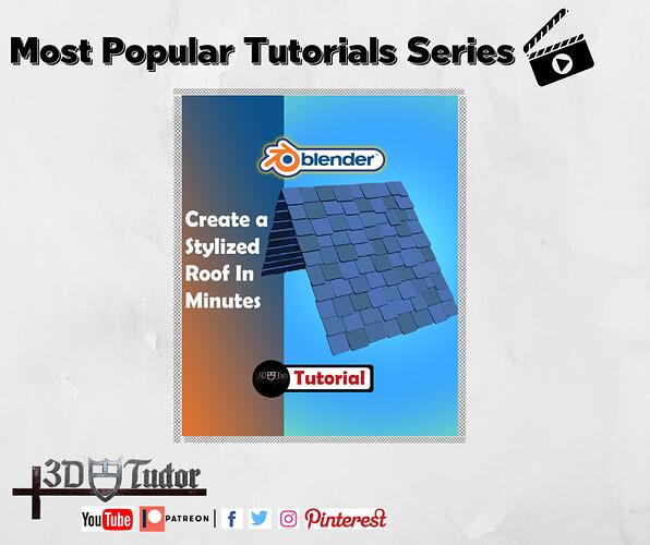Create a stylised roof in minutes Blender 2.8 tutorial pop