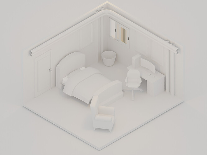 Isometric Room Clay Render final
