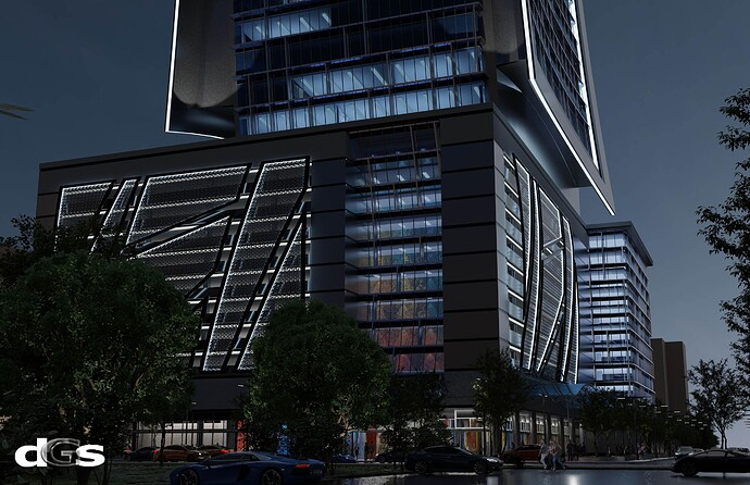 Night Office Tower - West Peachtree Street East Rendering+L