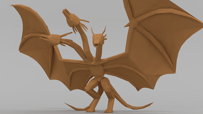 low poly king ghidorah color