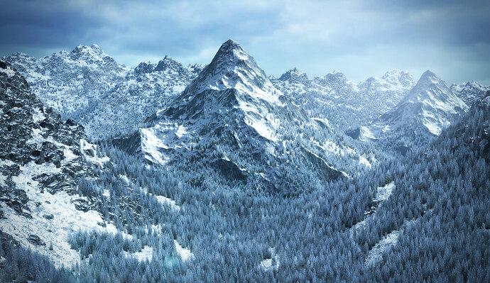 Snowy mountain Lanscape