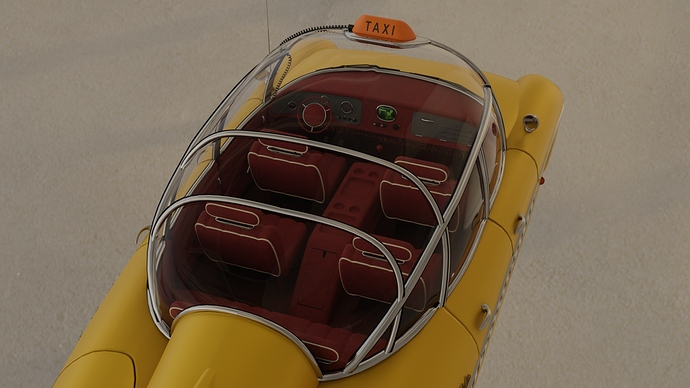 Taxi outdoors (top view)