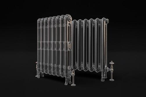 cast iron radiator2wireframe