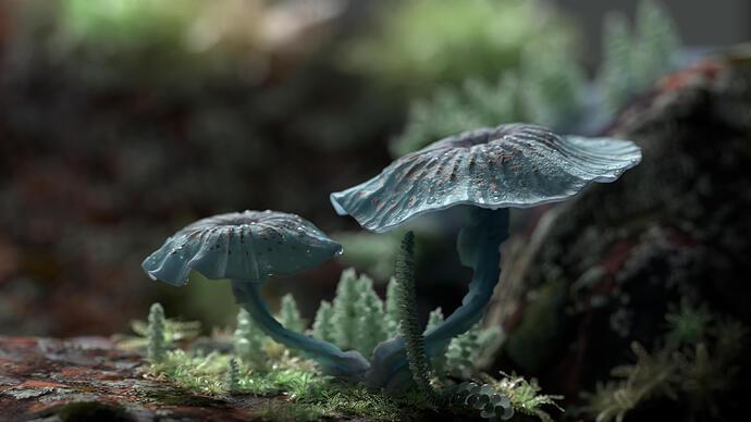 mossy mushrooms blender artists3