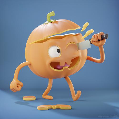 metin-seven_stylized-3d-illustrator_pumpkin-halloween-jack-o-lantern-cartoon-character