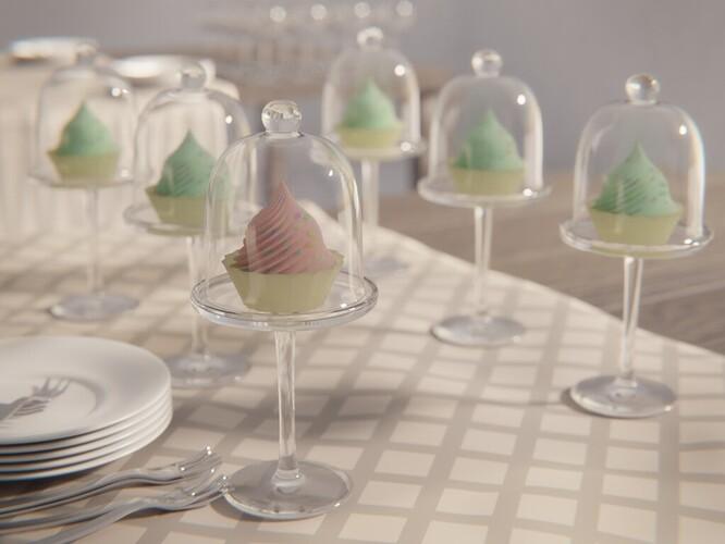 Dessert under glass