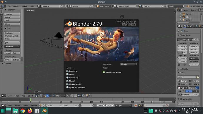 FIRST BLENDER 2.80 VERSION LINUX