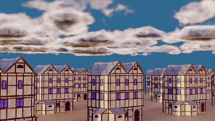 eevee buildings with clouds