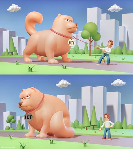 metin-seven_stylized-artistic-3d-illustrator_editorial-illustration-cartoony-dog-man-park-struggle