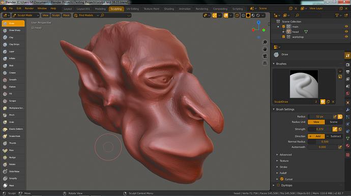 sculpt goblin face test 01