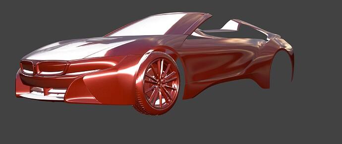 BMW i8 matcap shiny red