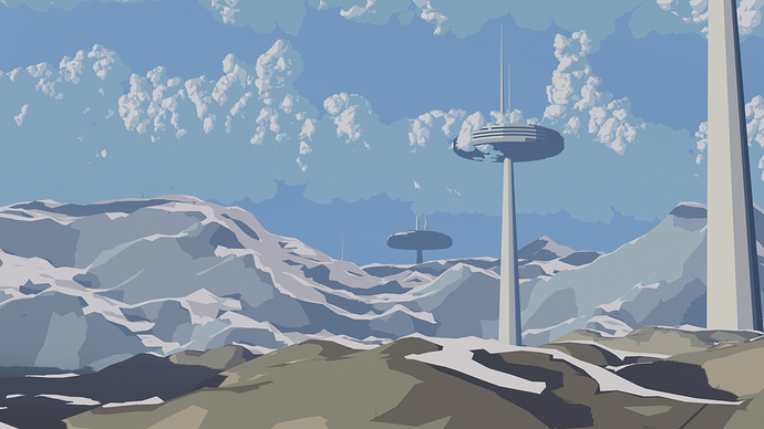 cartoon tower scifi scape
