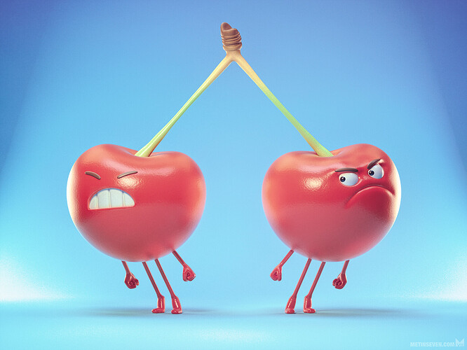 metin-seven_stylized-3d-illustrator_siamese-cherry-cherries-character-design-illustration