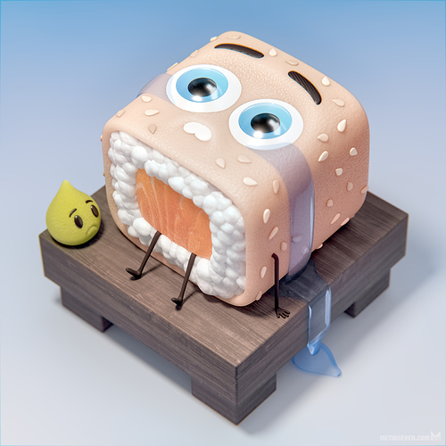 metin-seven_stylized-artistic-3d-illustrator_crying-sushi-wasabi-character-designs