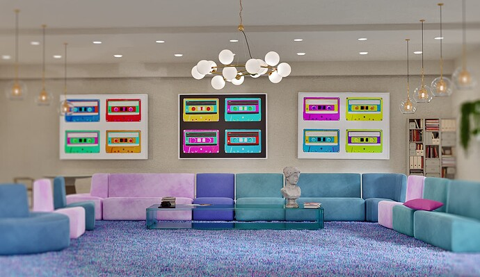 colorful living room composited