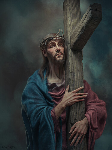 Christ carruing The cross