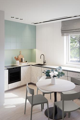 Virtuvė - skaidytos spintelių durelės - pilkšvos kėdės