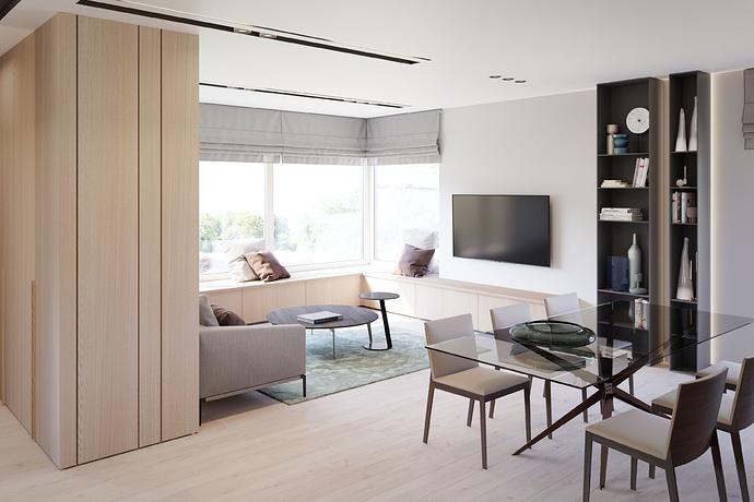 Į TV nuo koridoriaus - medinė siena