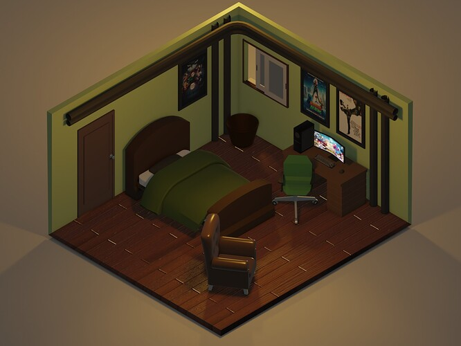 Isometric Room Color Render Evee