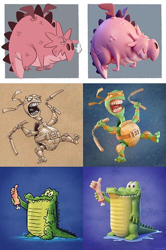 3D interpretations of 2D characters by Metin Seven - 2