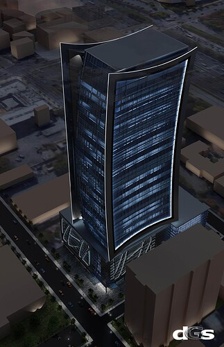 Nightime Aerial Office Tower @ West Peachtree & 12th Street+L