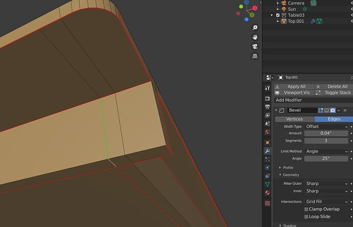 Beveling flat edges