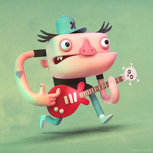 metin-seven_3d-print-modeler-toy-character-designer_cartoony-stylized-rockstar-guitarist