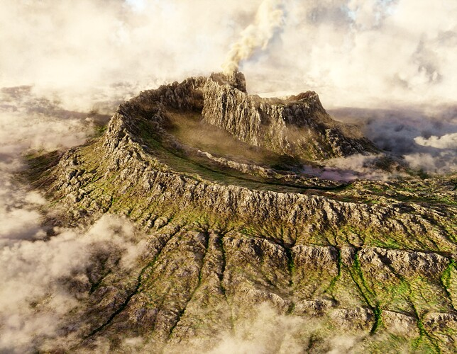 spiral volcano in the clouds_low sample test2