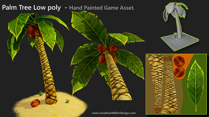 JMD Game Asset Hand Painted Palm Tree