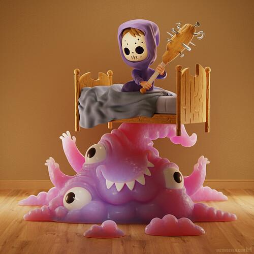 metin-seven_stylized-artistic-3d-illustrator-cartoon-character-designer_boy-monster-bed