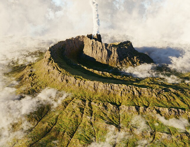 spiral volcano in the clouds_first low sample test