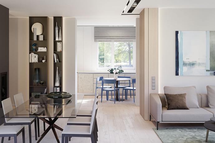 Į virtuvės pusę melsvos kėdės