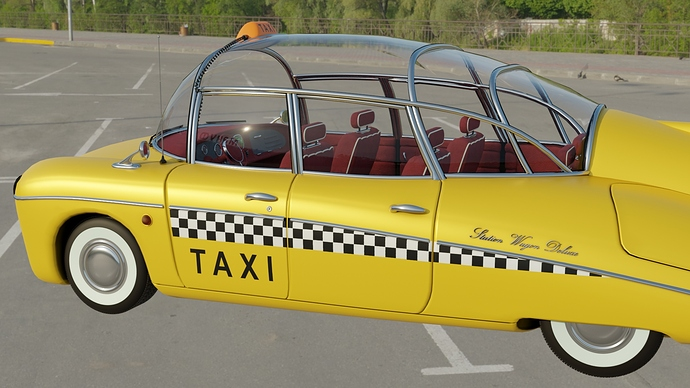 Taxi outdoors (parking lot 2, side view)