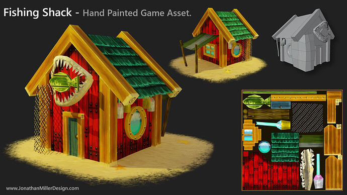 JMD Game Asset Hand Painted Fishing Shack