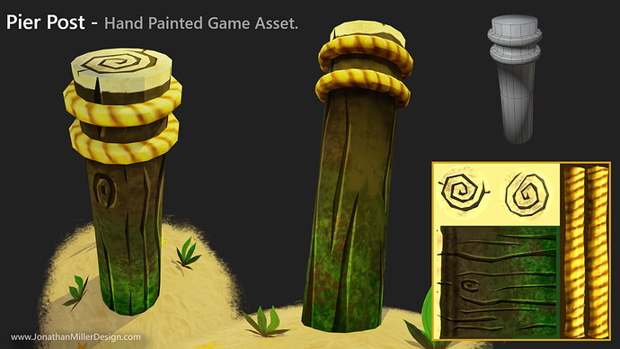 JMD Game Asset Hand Painted Pier Post
