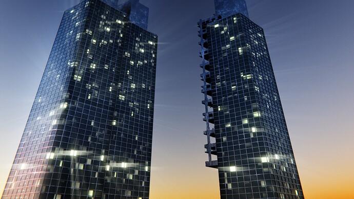 nightime skyscraper