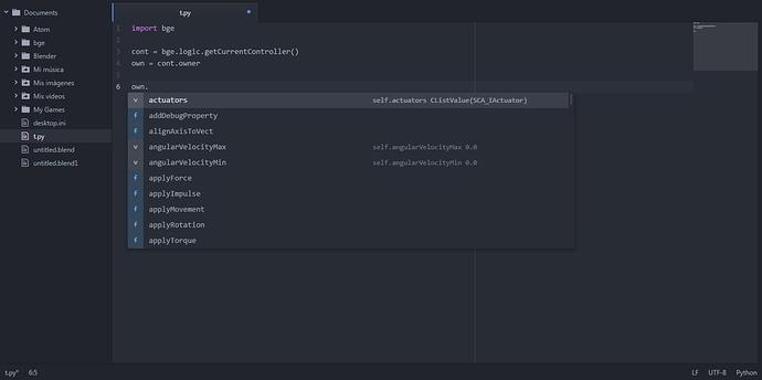 Mock BGE Python API for Autocomplete - Game Engine Resources