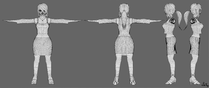Flare Summers_Character 3D Sheet wireframe preview