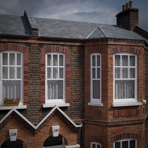 LONDON TERRACED HOUSES STREET -  detail 06A