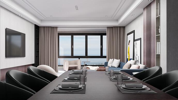 Living Room - Dining Render