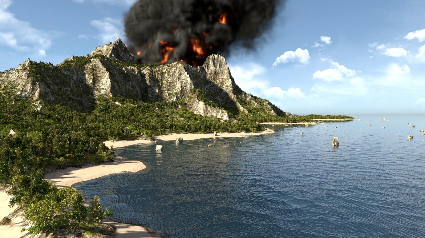 дополняют картинки про остров вулкана все