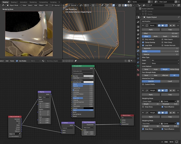 Regular smoothed normals - weighted normals, displacement but no rotation