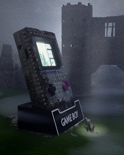 Gameboy with Knight top down POST