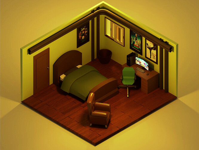 Isometric Room Final Render