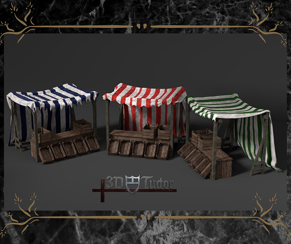 Blender 2.8 Medieval Market Stall Game Asset Timelapse  (1)
