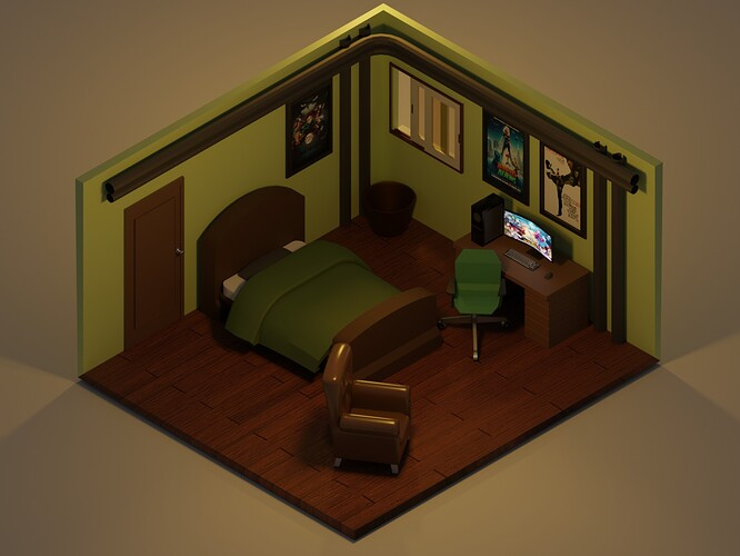 Isometric Room Color Render cycles