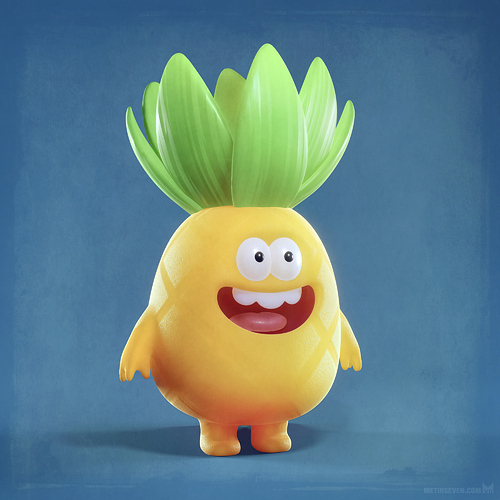 metin-seven_3d-print-modeler-toy-character-designer_cute-cartoon-happy-pineapple